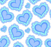Vector seamless pattern with beautiful blue abstract hearts Royalty Free Stock Photo