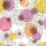 Vector seamless pattern with beautiful chamomile flower and colorful watercolor blots. Floral line illustration. Royalty Free Stock Images