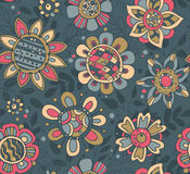 Vector seamless pattern with beautiful colorful flowers. Royalty Free Stock Photography
