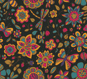 Vector seamless pattern with beautiful colorful flowers. Stock Photos