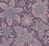 Vector seamless pattern with beautiful flowers. Stock Photography