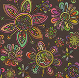 Vector seamless pattern with beautiful flowers Royalty Free Stock Photography