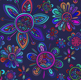 Vector seamless pattern with beautiful flowers Stock Photos