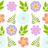 Vector seamless pattern with beautiful flowers and leaves on transparent background stock images