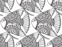 Vector seamless pattern with beautiful hand drawn fishes Stock Images
