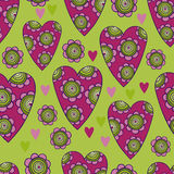 Vector seamless pattern of beautiful hearts with flowers. The best for Valentines's Day, Wedding and Birthday design. Vector seamless pattern of beautiful Stock Images
