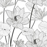 Vector seamless pattern with beautiful lotus flower. Black and w