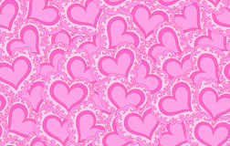 Vector seamless pattern with beautiful pink abstract hearts. Endless texture Stock Photography