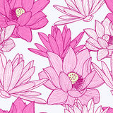 Vector seamless pattern with beautiful pink lotus flower. Floral Stock Image