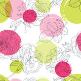 Vector seamless pattern with beautiful roses flower and colorful watercolor blots. Black and white floral line illustration. Stock Images