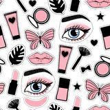 Vector Seamless pattern beauty makeup sign. Cosmetic bottles, powder, brush, lipstick, patch hand drawing on a white background. Seamless pattern fashion style vector illustration