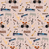 Vector seamless pattern with bebop jazz music instruments. Flat style design Royalty Free Stock Images