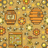 Vector seamless pattern. Beekeeping product. Included bee, honey Royalty Free Stock Image
