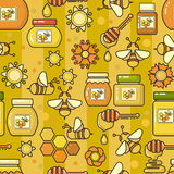 Vector seamless pattern. Beekeeping product. Included bee, honey Stock Photography