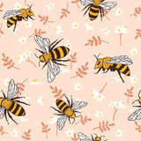 Vector seamless pattern with bees, leaves and flowers. Black and yellow texture. Vector seamless pattern with bees, leaves and flowers. Black and yellow texture royalty free illustration