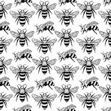 Vector seamless pattern with bees, leaves and flowers. Black and yellow texture. royalty free illustration