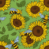 Vector seamless pattern with bees, leaves and flowers. Black and yellow texture. Vector seamless pattern with bees, leaves and flowers. Black and yellow texture stock illustration