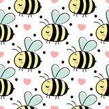 Vector seamless pattern with bees in love. Vector seamless pattern with bees in love stock illustration