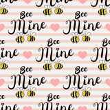 Vector seamless pattern with bees in love. Bee mine text. Vector seamless pattern with bees in love. Bee mine text stock illustration
