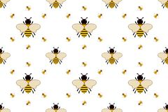 Vector seamless pattern with bees Royalty Free Stock Images