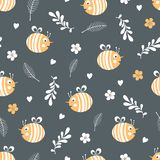 Vector seamless pattern with bees. Vector seamless summer pattern with bees, flowers, branches design illustration animal background fabric insect textile fly royalty free illustration