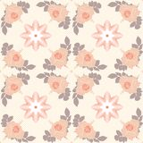 Vector seamless pattern. beige roses on cream background with geometric decoration. Vector seamless pattern. beige roses on cream background with geometric Royalty Free Stock Photography