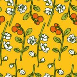 Vector seamless pattern with berries and flowers Stock Photo