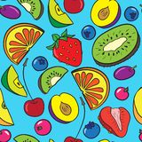 Vector seamless pattern with berries and fruits Stock Photos