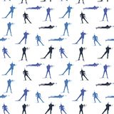 Vector seamless pattern with biathlon athletes figures. Blue colors ornament for backgrounds and other designs Stock Images