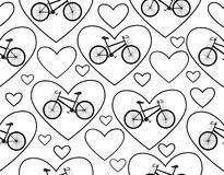 Vector seamless pattern with bikes and hearts, I love bike. You can use any color of background Stock Image