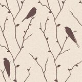 Vector seamless pattern with birds on branches Royalty Free Stock Photo
