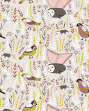 Vector seamless pattern with birds. Cute design for manufacturing. Vector seamless pattern with birds. Cute design for fabric, wrap paper or wallpaper Stock Photography