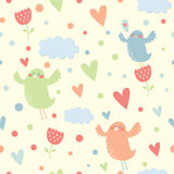 Vector seamless pattern with birds Royalty Free Stock Images