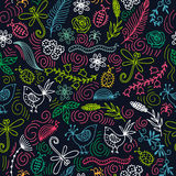 Vector seamless pattern with birds, flowers, dragonflies and beetles. stock illustration