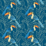 Vector seamless pattern with birds and leaves Stock Photos
