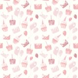 Vector seamless pattern with birthday elements in monochrome colors. stock illustration