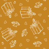 Vector seamless pattern with birthday greetings and hearts. Gold background for gift wrapping. box, ribbon, rose. Vector seamless pattern with birthday greetings Stock Image