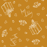 Vector seamless pattern with birthday greetings and hearts. Gold background for gift wrapping. box, ribbon, rose. Vector seamless pattern with birthday greetings Royalty Free Stock Photography