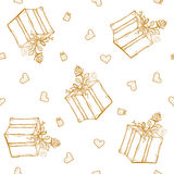 Vector seamless pattern with birthday greetings and hearts. Gold lettering on the white background for gift wrapping. Box with ribbon and rose Royalty Free Stock Photos