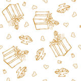 Vector seamless pattern with birthday greetings and hearts. Gold lettering on the white background for gift wrapping. Box with ribbon and rose Stock Image