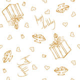 Vector seamless pattern with birthday greetings and hearts. Gold lettering on the white background for gift wrapping. Box with ribbon and rose Royalty Free Stock Images