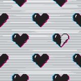 Vector glitch hearts pattern. Vector seamless pattern with 8 bit pixel art styled black hearts on grey background with glitch VHS effect. One heart is half full stock illustration