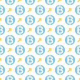 Vector seamless pattern with bitcoins. Cryptocurrency repeating background Stock Photo