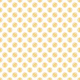 Vector seamless pattern with bitcoins. Cryptocurrency repeating background Royalty Free Stock Photos