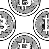 Vector seamless pattern with bitcoins. Vector seamless pattern with linear bitcoin illustration Royalty Free Stock Photography