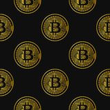 Vector seamless pattern with bitcoins. Vector seamless pattern with linear bitcoin illustration Royalty Free Stock Image