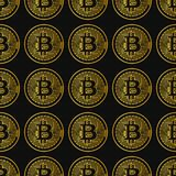 Vector seamless pattern with bitcoins. Vector seamless pattern with linear bitcoin illustration Stock Image