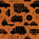Vector seamless pattern with cars and trucks. Vector seamless pattern with black cars and trucks on a brown background Royalty Free Stock Photo