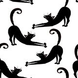 Vector seamless pattern with black cats, kitties on the transparent background. stock illustration