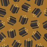 Vector seamless pattern with black gift boxes over yellow background. Birthday present boxes with gold ribbon bow. Seamless pattern with black gift boxes over stock illustration